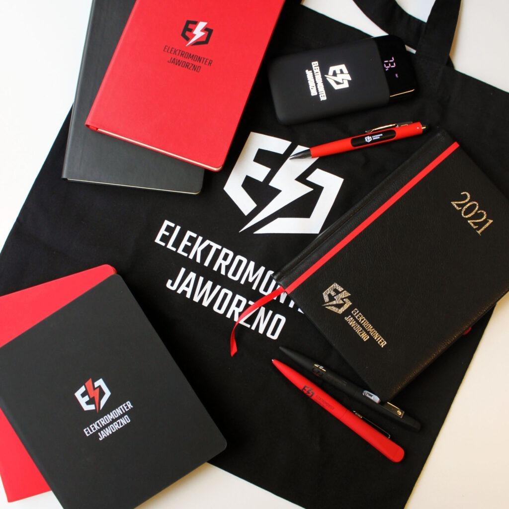 Elektromonter torby materiałowe kalendarze długopisy notesy