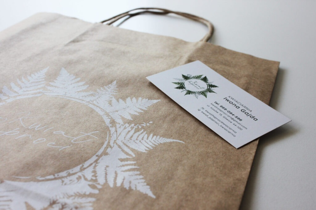 Realizacja Kwiat Paproci wizytówki torby prezentowe